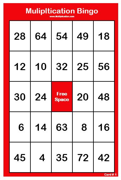 for playing Multiplication Bingo . The consists of 30 Multiplication ...