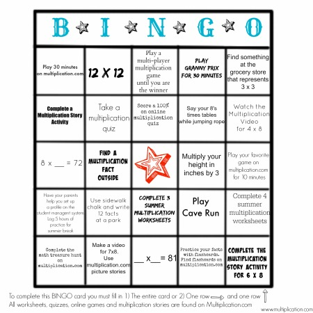 avoid the summer slide with this free multiplication bingo activity. Black Bedroom Furniture Sets. Home Design Ideas