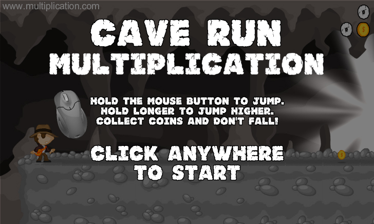 Cave Run Multiplication - Free Online Math Game