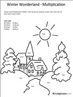 Free Christmas Multiplication Coloring Worksheets Multiplication Com