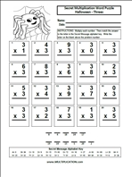 free halloween multiplication worksheets  multiplicationcom threes  word puzzle