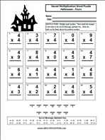 Free Halloween Multiplication Worksheets  Multiplicationcom Fours  Word Puzzle