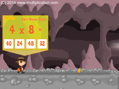 Play Cave run to practice the multiplication facts