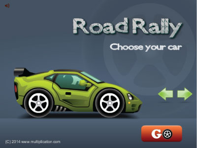 Practice the multiplication facts while playing against others in Road Rally