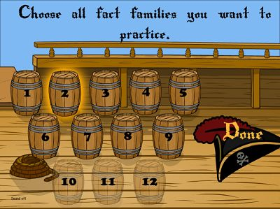Choose Fact Families for Pirates II Addition | Multiplication.com