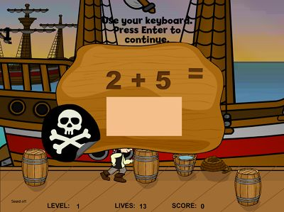 Solve the Addition Problems in Pirates II Addition | Multiplication.com