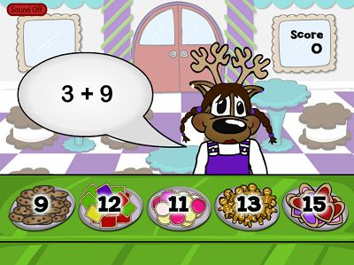 Sell Cookies to the Hungry Reindeers in Reindeer Cafe Addition | Multiplication.com