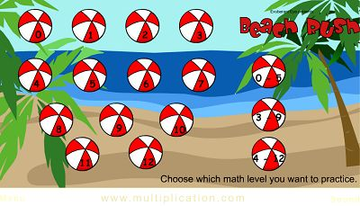 Choose the Facts for Beach Rush | Multiplication.com
