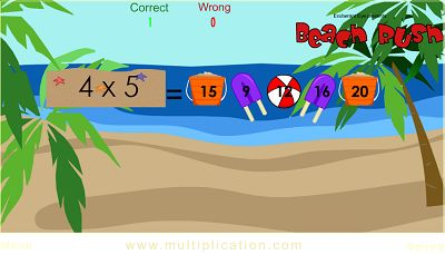Solve the Problems in Beach Rush | Multiplication.com