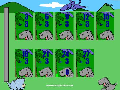 The Dinosaur Theme in Quick Flash II Division | Multiplication.com