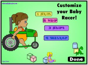 Design Your Baby Racer in Diaper Derby Multiplayer Addition | Multiplication.com
