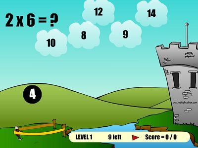Solve a Fact to Launch a Knight in The Flight of the Knight | Multiplication.com