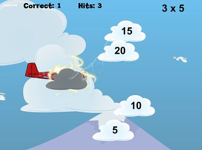 Watch out for Thunderclouds in Flying High Multiplication | Multiplication.com