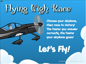 Welcome to Flying High Race Subtraction | Multiplication.com