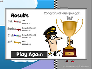 Win a Trophy in Flying High Race Subtraction | Multiplication.com