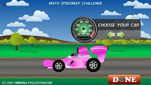 Select your Race Car in Math Speedway Challenge Division | Multiplication.com
