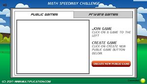 Join a Public Game in Math Speedway Challenge Division | Multiplication.com