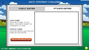 Join a Private Game in Math Speedway Challenge Division | Multiplication.com