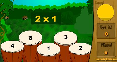 Solve the Facts to Practice the Drums in Jungle Jim Plays the Drums | Multiplication.com
