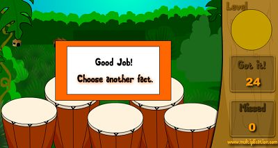 Solve as Many Facts as you Can in Jungle Jim Plays the Drums | Multiplication.com
