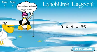 Help Penny the Penguin get Her Lunch in Lunchtime Lagoon | Multiplication.com