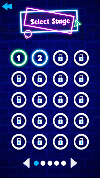 Select a stage in Neon Bricks Multiplication | Multiplication.com