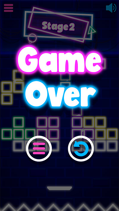 Game over in Neon Bricks Multiplication | Multiplication.com