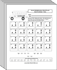 Free Secret puzzle Back to School multiplication worksheets - Multiplication.com