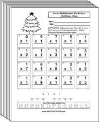 Free Secret puzzle Christmas multiplication worksheets - Multiplication.com