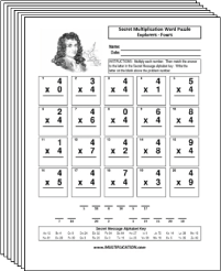 Free Secret puzzle Explorer multiplication worksheets - Multiplication.com