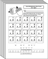 Free Secret puzzle More Fall multiplication worksheets - Multiplication.com