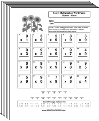 Free Secret puzzle Flower multiplication worksheets - Multiplication.com