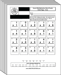 Free Secret puzzle State Flags multiplication worksheets - Multiplication.com