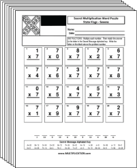 Free Secret puzzle More State Flags multiplication worksheets - Multiplication.com