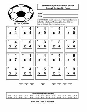 Free Around the World Multiplication - Secret Puzzle Worksheet - Multiplication.com