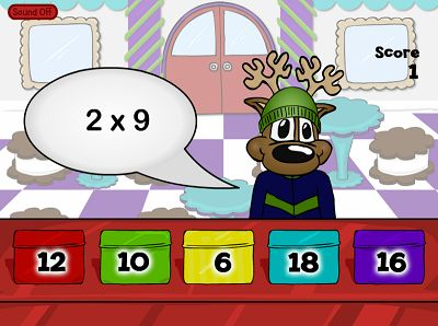 Sell Some Cookie Tins in Reindeer Cafe Multiplication | Multiplication.com