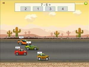 Solve Facts the Fastest to Win in Road Rally Multiplayer Subtraction | Multiplication.com