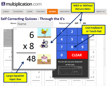 Multiplication Self Corrected Quizzes With Quiz Navigator
