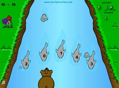 Catch the Right Fish in Baxley the Bear Subtraction | Multiplication.com