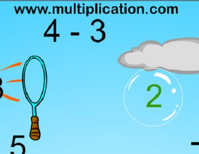 Right Answers are Green in Bubble Bugs Subtraction | Multiplication.com