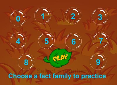 Choose a Fact Family in Bubble Bugs Subtraction | Multiplication.com
