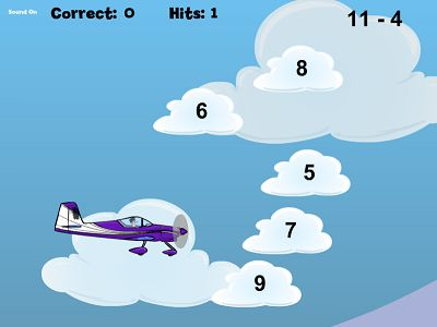 Answer Subtraction Facts in Flying High II Subtraction | Multiplication.com