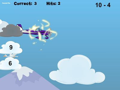 Watch out for Lightning Clouds in Flying High II Subtraction | Multiplication.com