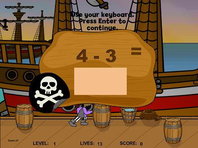 Solve the Facts in Pirates II Subtraction | Multiplication.com