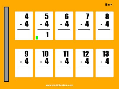 Practice the Subtraction Facts in Quick Flash II Subtraction | Multiplication.com