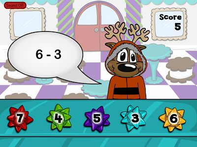 Sell Cookie Tin Bows in Reindeer Cafe Subtraction | Multiplication.com
