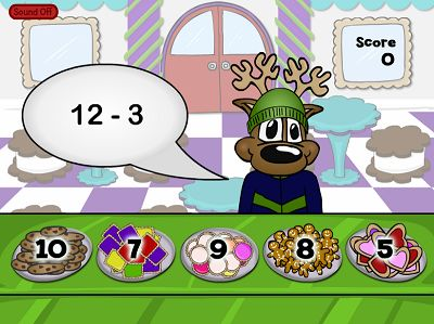 Sell Yummy Cookies to the Reindeer in Reindeer Cafe Subtraction | Multiplication.com