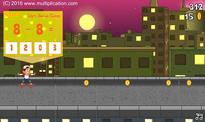 Solve Subtraction Facts in Rooftop Ride Subtraction | Multiplication.com