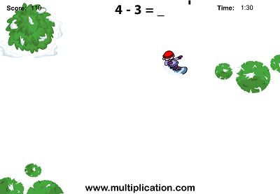Hit the Slopes in Snowboard Challenge Subtraction | Multiplication.com