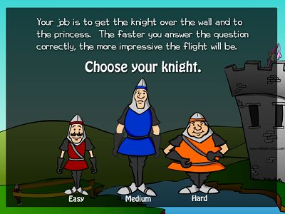 Choose a Level in The Knight and the Princess | Multiplication.com